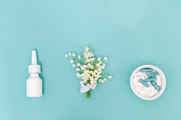 Nasenspray, tabletten und kapseln gegen pollenallergien von blütenpflanzen