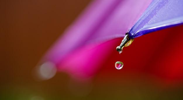 Nasse bereiche des regenschirms und tropfender regen von ihnen.