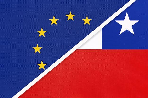 Nationalflagge der europäischen union oder der eu gegen die republik chile