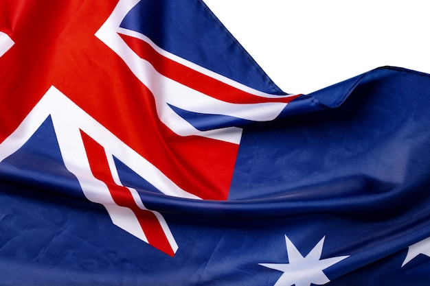 Nationalflagge von australien, stoff textil nahaufnahme