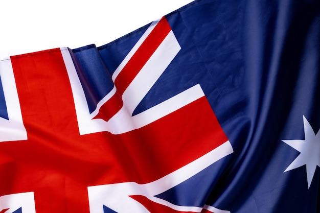 Nationalflagge von australien, textilhintergrund des gewebes schließen oben