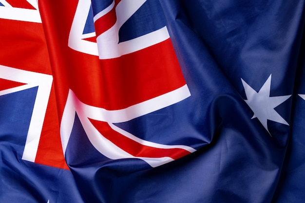 Nationalflagge von australien, textilhintergrund des gewebes