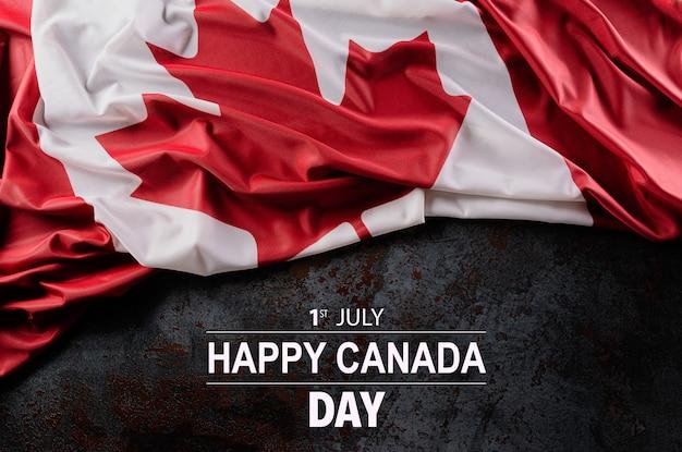 Nationalflagge von kanada, schöne farbe mit stoffstruktur