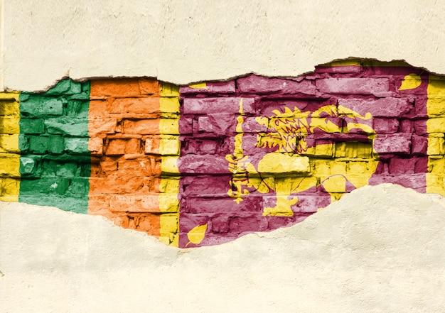 Nationalflagge von sri lanka auf einem backsteinhintergrund. backsteinmauer mit teilweise zerstörtem putz, hintergrund oder textur.