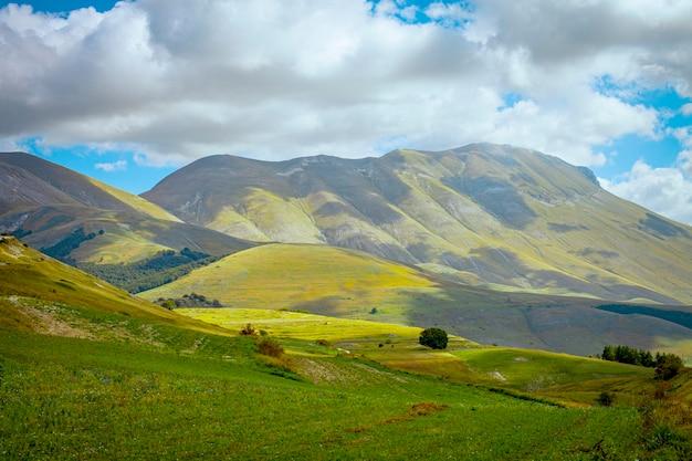 Nationalpark der sibillini berge. felder in castelluccio di norcia, umbrien, italien.