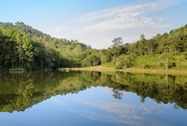 Nationalpark pang oung, schöner waldsee morgens, mae hong son, thailand