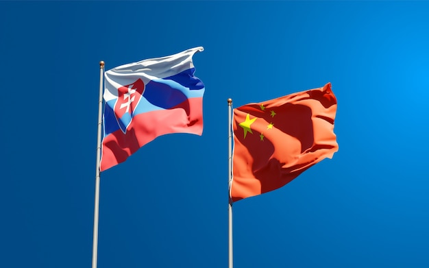 Nationalstaatsflaggen der slowakei und chinas zusammen