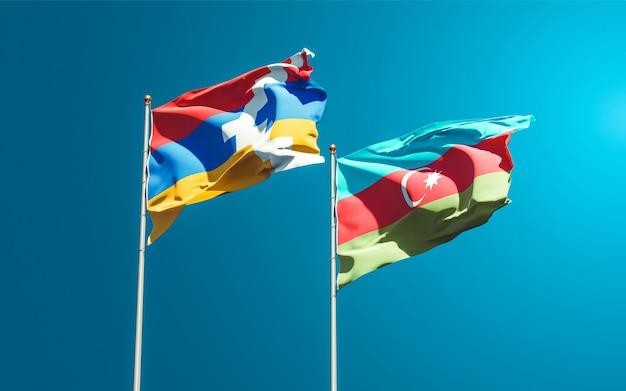 Nationalstaatsflaggen von aserbaidschan und artsakh