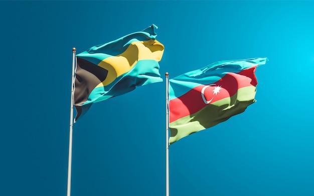 Nationalstaatsflaggen von aserbaidschan und bahamas