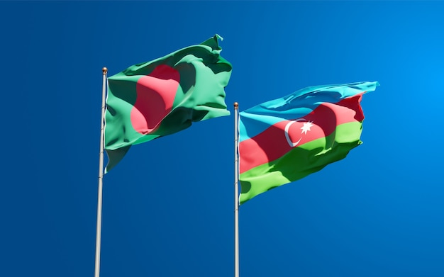 Nationalstaatsflaggen von aserbaidschan und bangladesch