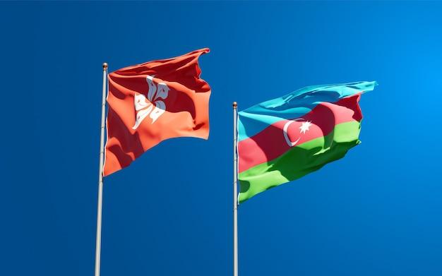 Nationalstaatsflaggen von hong kong hk und aserbaidschan