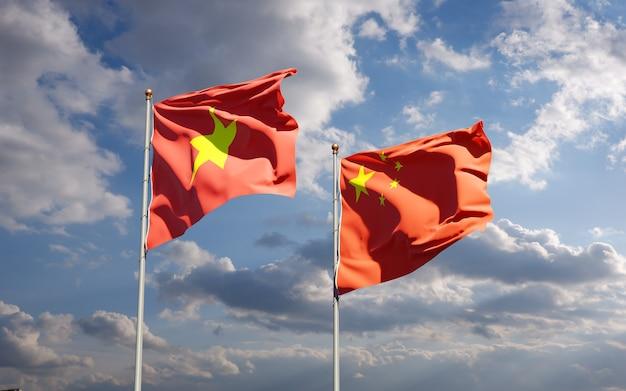 Nationalstaatsflaggen von vietnam und china zusammen
