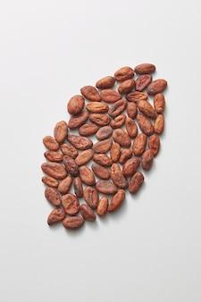 Natürliche bio-kakaobohnen in form von großen bohnen