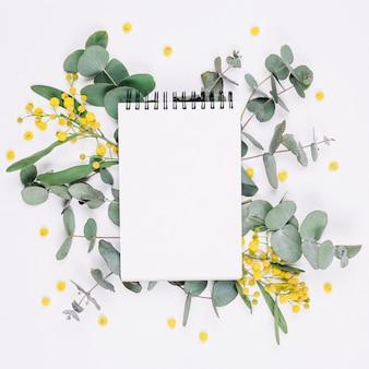 Natürliche dekoration mit einem notizbuch