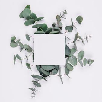 Natürliche dekoration mit leerer leinwand