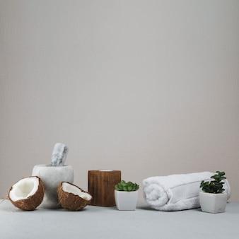 Natürliche elemente für spa mit kokosnuss