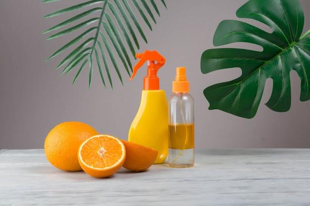 Natürliche elemente für spa mit orangen