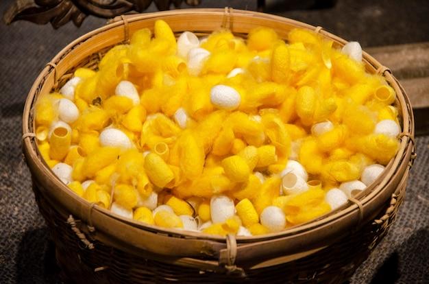 Natürliche gelbe und weiße kokons