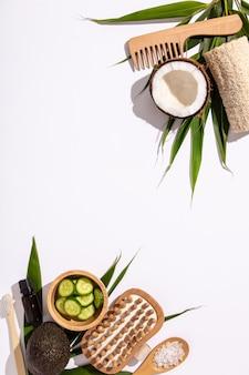 Natürliche hautpflegeprodukte. keine abfälle, umweltfreundliche badezimmer- und spa-accessoires