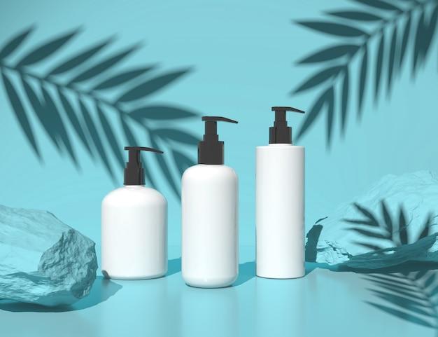 Natürliche kosmetische leere flaschenverpackung im abstrakten blauen schönheits- und badekurortkonzept, wiedergabe 3d.