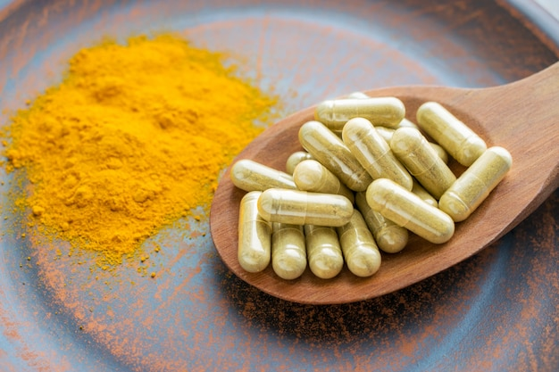 Natürliche kräuter nahrungsergänzungsmittel kurkuma gemüse kapseln