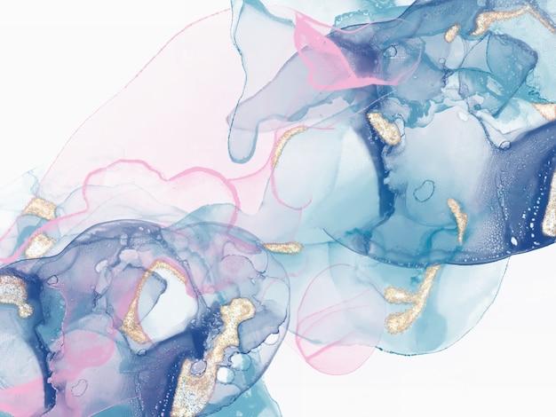 Natürliche luxuriöse abstrakte flüssige kunstmalerei in alkoholtintentechnik alkoholtintenmuster premium