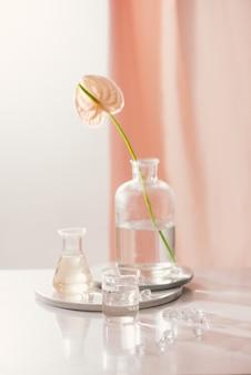 Natürliche organische extraktion, blütenaroma-essenzlösung im labor