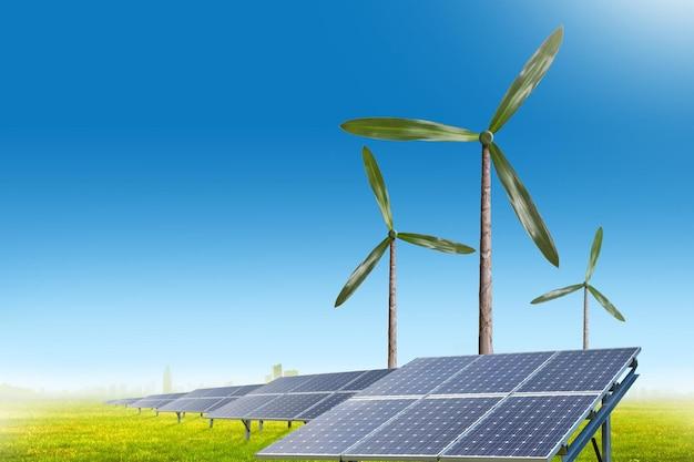 Natürliche windgeneratorturbinen und sonnenkollektoren auf sommerlandschaft