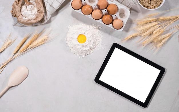 Natürliche zutaten zum backen mit tablette