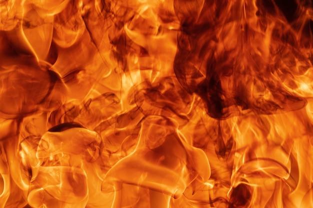 Natürlicher hintergrund des roten feuers der flamme. gefährliche feuersturm abstrakte textur. atmosphärische dispersion, defokussierung (weichzeichner), bewegungsunschärfe durch feuer, hohe temperatur durch flammen.