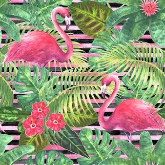 Natürlicher hintergrund tropische exotische rosa flamingos grüne blätter zweige und helle blumen auf vertikal gestreiften schwarzen und rosa hintergrund aquarell handgezeichnete illustration nahtloses muster