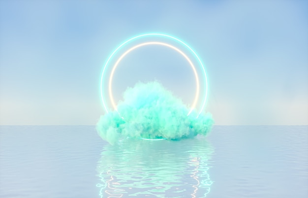 Natürlicher schönheitspodesthintergrund für produktanzeige mit verträumter wolke und neonlichthintergrund.