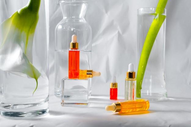 Natürliches hyaluronserum- und hautpflegekonzept