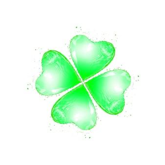 Natürliches kleeblattblatt in form eines frischen spritzens mit tröpfchen auf einem weiß mit kopierraum. happy st.patrick's day konzept.