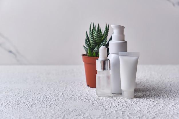 Natürliches kosmetisches öl, serum, gel mit aloe vera-extrakt in verschiedenen behältern und kleinem topf aloe auf weißem hintergrund. bio-kosmetik. unbranding-mock-up für kosmetika