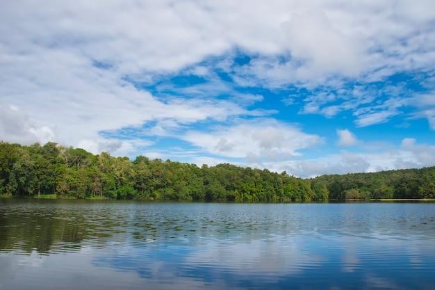 Natürliches reservoir im dschungel mit schöner himmellandschaft in thailand