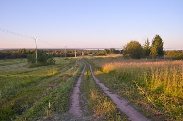 Natur in russland. straße zum feld