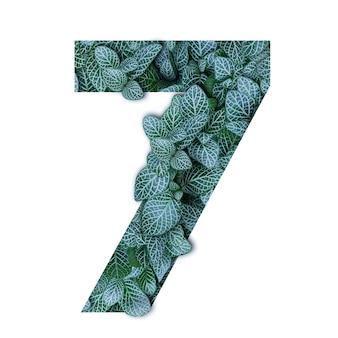 Naturkonzeptalphabet von grünblättern in der form der nr. sieben