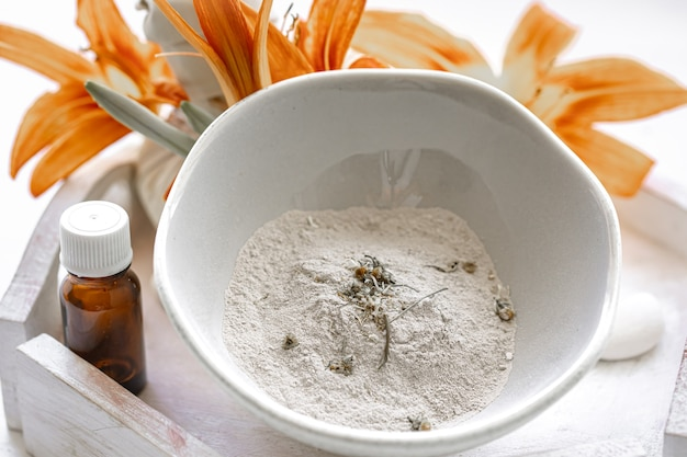 Naturkosmetik für spa-behandlungen zu hause oder im salon, kosmetische hautpflege.