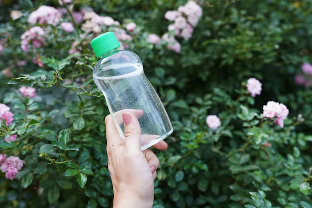 Naturkosmetik, tonic für die gesichtshaut in der hand