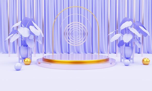 Naturpflanze 3d realistische podium produkt promo-anzeige