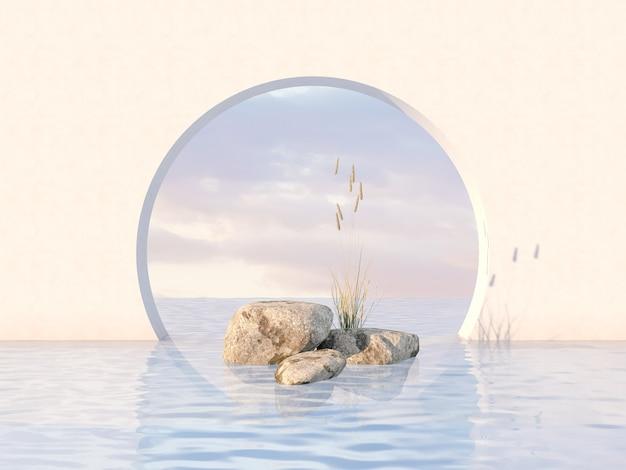 Naturschönheitspodiumhintergrund mit stein und blumengras