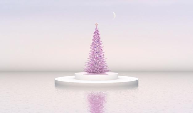 Naturschönheitspodiumhintergrund mit zylinderkasten und weihnachtsbaum.