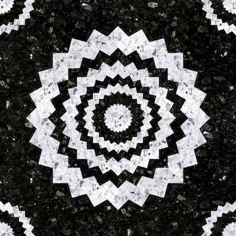 Natursteinfliesen. mosaik aus weißem und schwarz poliertem granit.