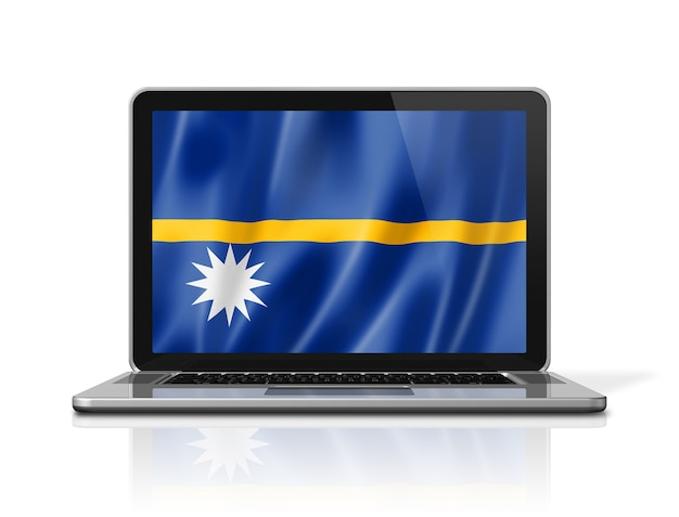 Nauru-flag auf laptop-bildschirm isoliert auf weiss. 3d-darstellung rendern.