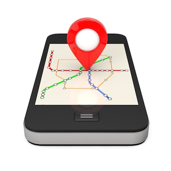 Navigation per smartphone. standort-zeiger am telefon mit abstrakten transport metro oder u-bahn-karte auf weißem hintergrund. 3d-rendering