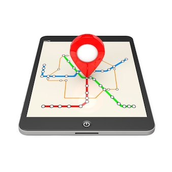 Navigation über tablet-pc. standortzeiger auf tablet-pc mit abstrakter transport-u-bahn- oder u-bahn-karte auf weißem hintergrund. 3d-rendering