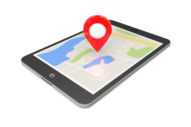 Navigation über tablet-pc. standortzeiger auf tablet-pc mit karte auf weißem hintergrund. 3d-rendering
