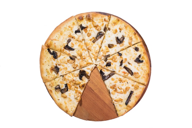 Neapel pizza auf holztablett isoliert
