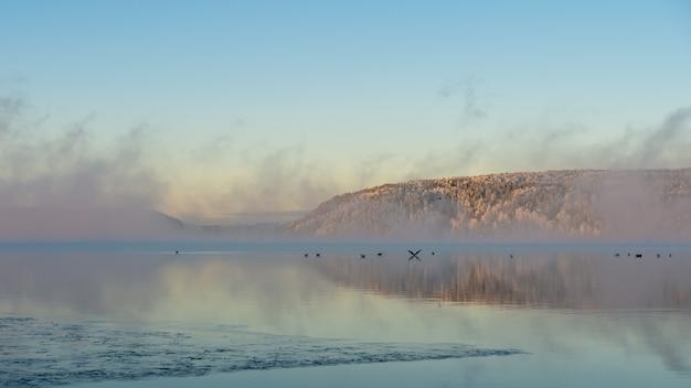 Nebel, sonnenaufgang, tanzende feen schaffen eine verträumte szene. schöner morgen im morgengrauen